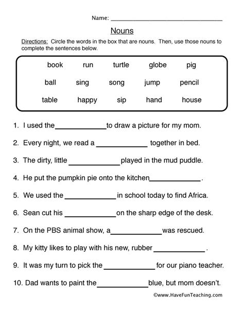 Fun And Engaging Second Grade Noun Worksheet 1 Fill Blanks For Your Classroom