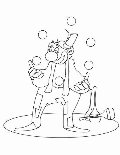 Coloring Circus Printable Clown Juggling Pages Clowns