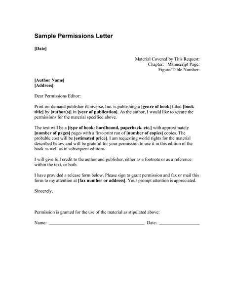 formal  permission letter templates