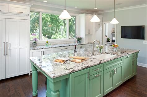 Mint Green, White and Light Gray Traditional Kitchen