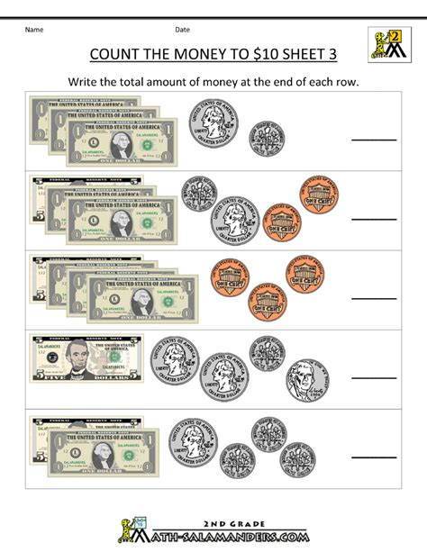 2nd grade math worksheets money free counting money