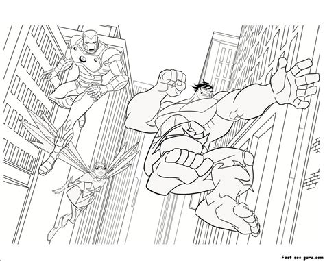 printable  avengers iron man hulk coloring pages
