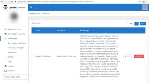linkedin inmail templates how to add inmail templates in the leonard for linkedin dashboard
