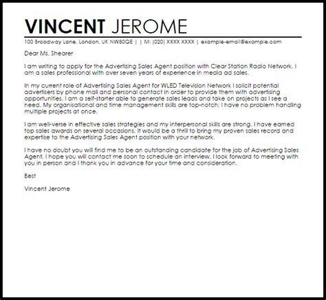 advertising sales agent cover letter sample cover letter templates examples