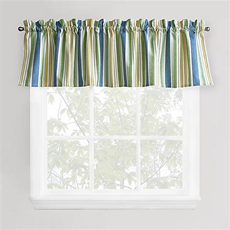 Blue Green Valance cape cod stripe window valance in blue green bed bath