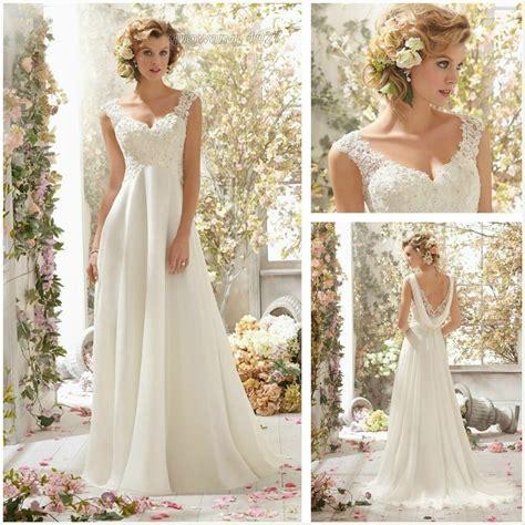 New White Ivory Chiffon Long Wedding Dress Bridal Gown