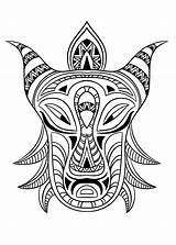 Coloring African Mask Africa Adult Adults sketch template