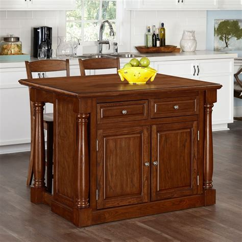 home styles monarch oak kitchen island   stools