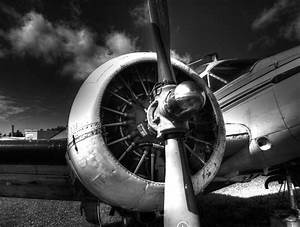 Vintage aircraft in black and white