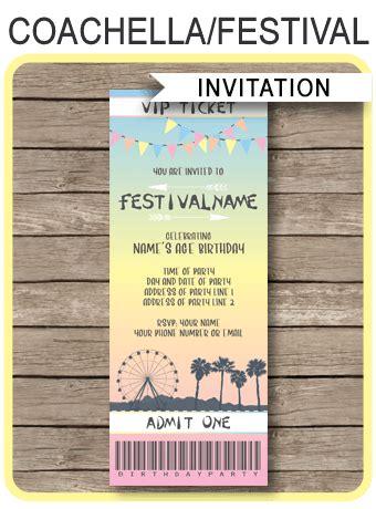 coachella themed party ticket invitation template
