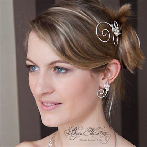 accessoire de coiffure mariage pas cher pic 224 chignon en spirale fil argent 233 et perle de