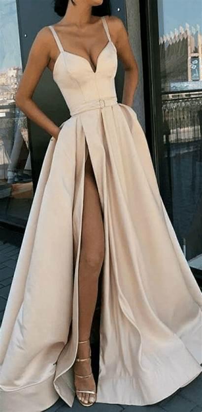 Prom Spaghetti Straps Dresses Split Formal Line