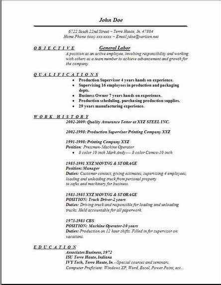 General Laborer Resume Sles by General Resume Exles General Labor Resume Exles