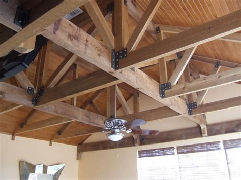 hanging drywall on ceiling trusses exposed cedar trusses with stained tongue and groove