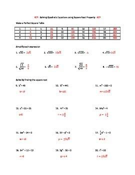 solving quadratic equations using square root method worksheet tpt