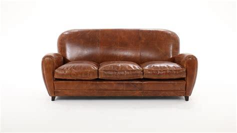 canapé du bout du monde canapé 3 places fixe cuir marron vintage oxford maisons du monde