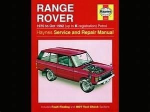 Haynes Range Rover Service And Repair Manual 1970