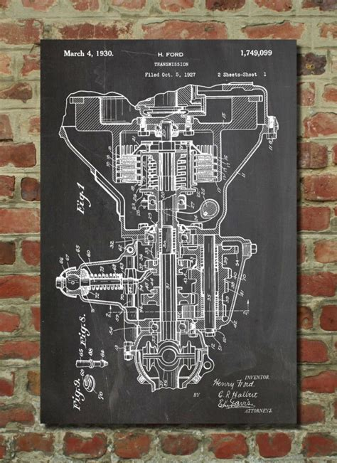henry ford transmission patent poster craft patent
