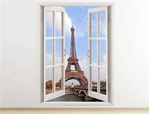Eiffel Tower wall decal vertical 3D window paris sticker for