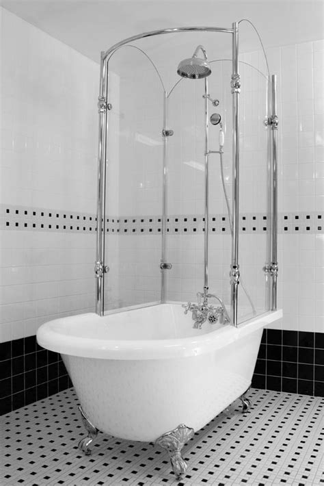 Extra Long Stall Shower Curtain by Oasis Vintage Antique Clawfoot Tub With Glass Shower Surround