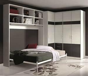 Lit Dans Armoire : armoire lit escamotable athena avec dressing et rangements ~ Premium-room.com Idées de Décoration