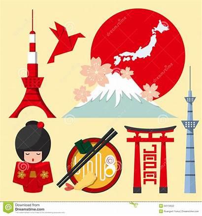 Japan Icon Flat Japanese Ikone Flachen Satz