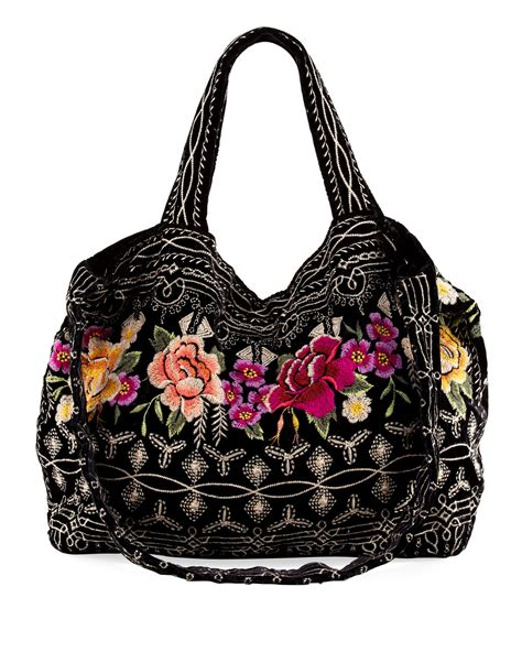 johnny  flores embroidered velvet tote bag neiman marcus