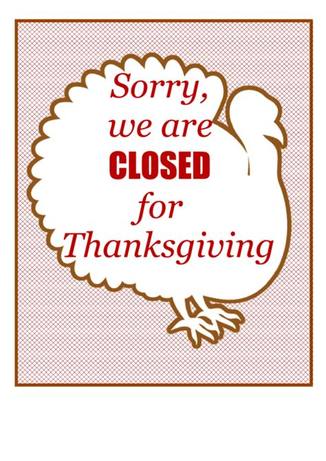 thanksgiving closed sign template printable