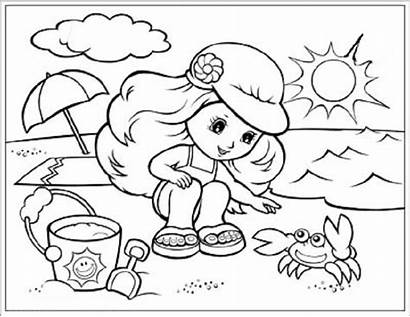 Summer Season Coloring Pages Drawing Sheets Beach
