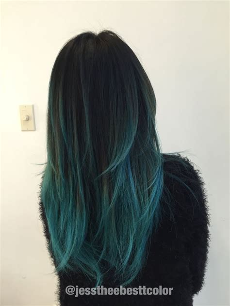 Hair With Blue by Cake Blue Teal Ombre Balayage By Gonzalez In
