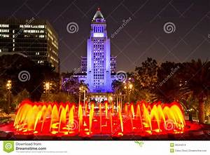 Los Angeles City Hall As Seen From The Grand Park Stock ...