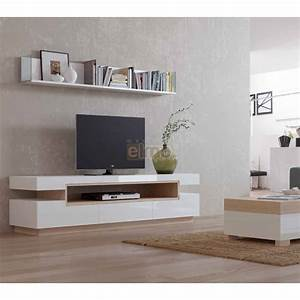 meuble tv design contemporain bois laque blanc natural2 With deco cuisine pour meuble tv contemporain