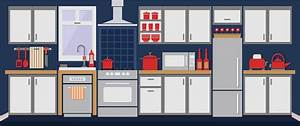 Clipart - Simple Kitchen Remixed with Flat Colors and Shadows