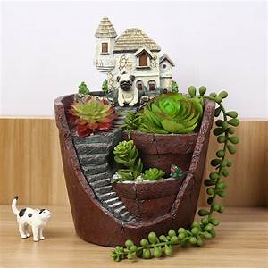 new castle house resin garden maceteros pot mini flower With balkon teppich mit tapete fairyland