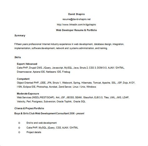 Asp Net Developer Resume by Web Developer Resume Template 11 Free Word Excel Ps