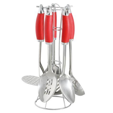 ustensiles de cuisine en r présentoir en métal avec 5 ustensiles de cuisine en inox
