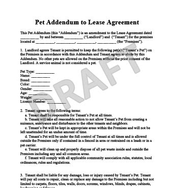 condominium rules rental agreement template pet addendum to a lease agreement legal templates