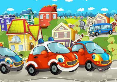 kleurrijk auto fotobehang kinderkamer muurdecokids