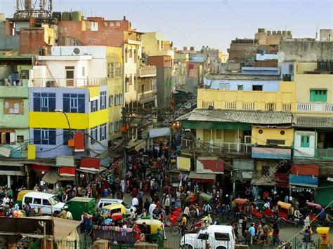 busy streets   delhi view  jama masjid stock