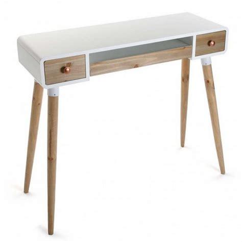 console bureau design table bureau console avec tiroirs design scandinave bois