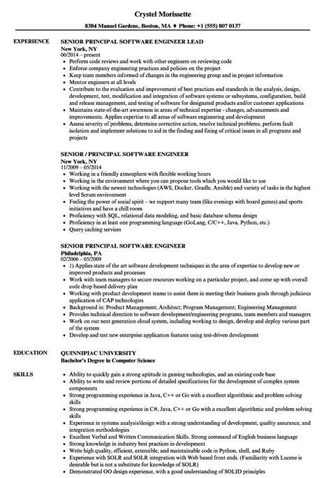 senior principal software engineer resume samples velvet