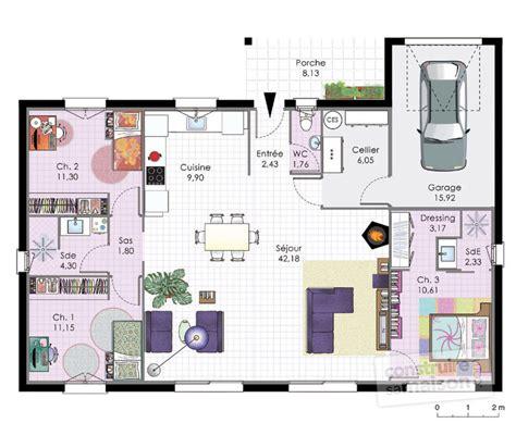 plan maison plain pied 100m2 3 chambres plan maison plain pied 3 chambres 100m2 plan