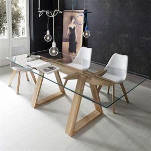 Table Bois Massif Design : table design en verre tremp et bois massif tokyo 4 ~ Teatrodelosmanantiales.com Idées de Décoration