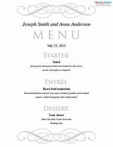 free printable wedding menu templates lovetoknow With menu templates for weddings