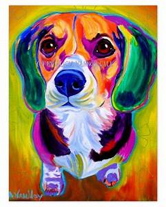 Colorful Pet Portrait Beagle Dog Art Print 8x10 by by ...