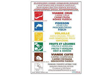 haccp cuisine poster de réglementation des codes couleurs haccp