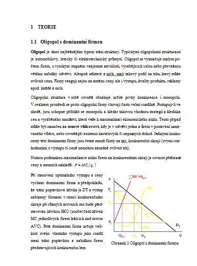 Mikroekonomie Oligopol a monopolistická konkurence / Seminární práce / Zadani-seminarky.cz
