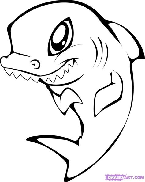 draw  cute shark step  sea animals  pictures