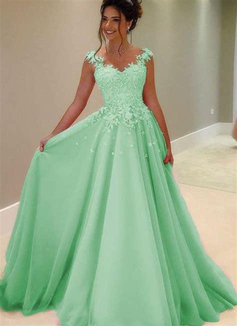 Beautiful green lace chiffon prom dress, ball gown, long ...