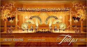 gold theme stage design setup decoration ideas in Pakistan
